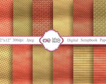 Digital Scrapbooking Gold&Red Paper Pack-INSTANT DOWNLOAD-Digital Paper for Personal or Commercial Use - 12 Sheets - 300 DPI -