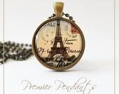 French Vintage Paris Eiffel Tower Necklace Pendant Jewelry Art 0200AGC