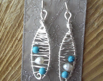 Turquoise and FreshWater Pearl Wire Earrings