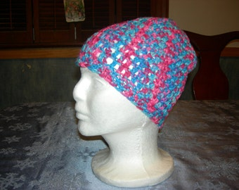 Crochet multi-colored hat for youth or adult