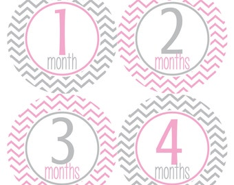 Baby Monthly Stickers, Monthly Baby Stickers, Baby Girl Monthly Stickers - Pink, Grey, Baby Girl, Chevron, Grey, Pink