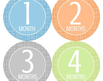 Baby Monthly Stickers, Monthly Baby Stickers, Baby Boy Monthly Stickers - Grey, Blue, Orange, Green, Baby Boy, Baby Shower Gift