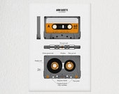 Vintage Poster, Screen Print: Anatomy of an Audio Cassette - Tape Anatomy School Chart