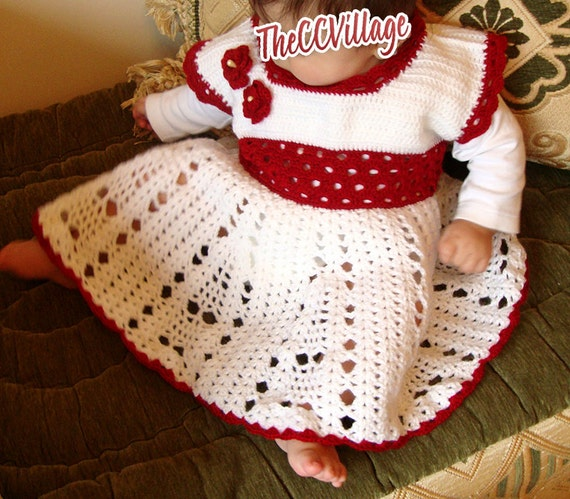 White Crochet Baby Girl Dresses Handmade White And Dark Red