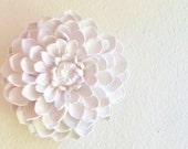 Dahlia flower sculpture, stone flowers, modern minimalist floral wall decor, Etsy lookbook feature, white wall flowers