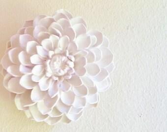 Dahlia flower sculpture, boheme, stone flowers, modern minimalist floral wall decor, white wall flowers