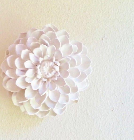 Dahlia wall sculpture, boheme, stone flowers, modern minimalist floral wall decor, white wall flowers