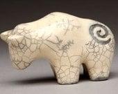 White Buffalo Raku Fired, handmade, Buffalo totem, Buffalo Fetish, Buffalo legend, Ceramic Buffalo sculpture