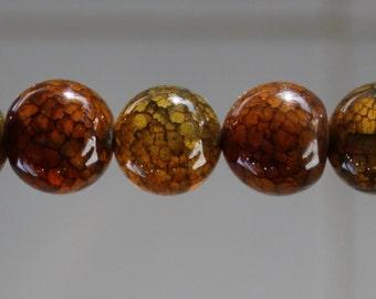 9pcs Green Dragon Agate 14mm round Gemstone Beads B13