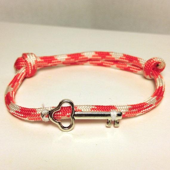 paracord skeleton key adjustable bracelet survival colorful