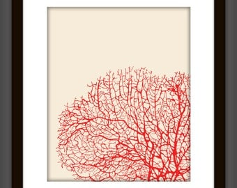 Red Underwater Sea Coral Art Printable Poster (Customize with any color)