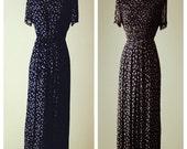 Vintage Karin Stevens Black Lands of small white flowers waist pleated Short sleeve long skirt dress 6