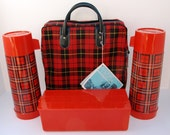 Vintage Red Plaid Aladdin Thermos Ala-Diner Picnic Kit, Brand New with Tags - FiveStarFinds