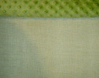 Nap Mat Cover / Toddler Cot Cover with Padded Minky Dot Headrest - Sage Green Woven Check - LAST ONE AVAILABLE