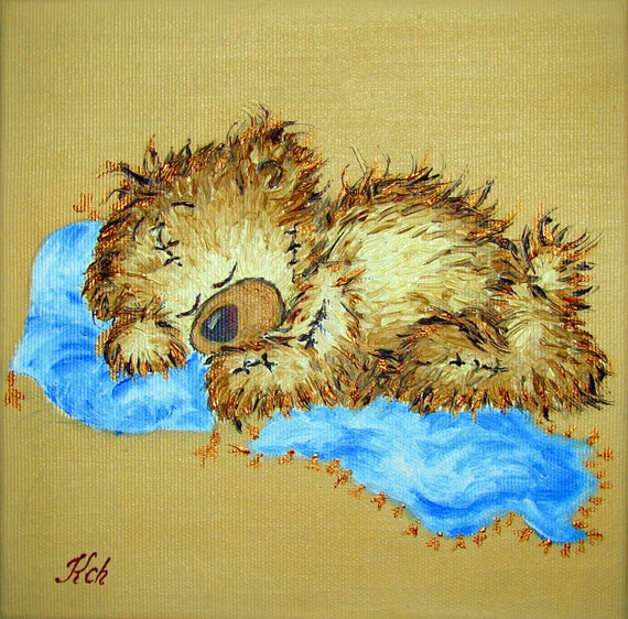 Oil painting for children 39 s room teddy bear original wall for Oil painting for kids