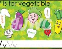 V is for Vegetable Alphabet File Folder Game - Downloadable PDF Only