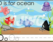 O is for Ocean Alphabet File Folder Game - Downloadable PDF Only