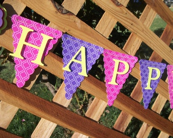 pink and purple lattice happy birthday banner, birthday banner, happy 1st birthday