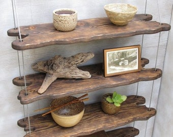 driftwood shelves, display shelving, shelving system,wall shelves, pottery shelf