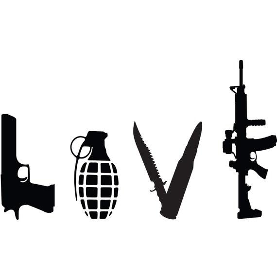 Items similar to Love Weapons Gun Vinyl Decal, Gun Decal ...