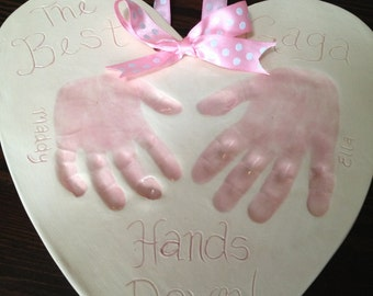 Best Aunt and Uncle Hands Down Keepsake - Baby Handprint Gift