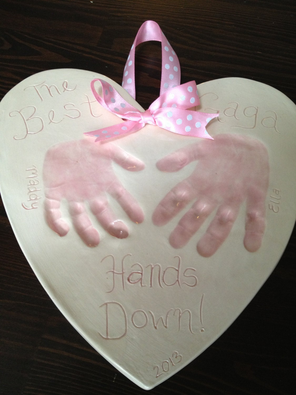 Best Mom Hands Down Keepsake - Baby Handprint Gift