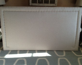 King Rectangle Upholstered Headboard, WHEAT Linen, Silver Nickel Nailhead
