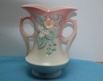 Antique Hull Vase, Wildflower Vase, Pink Vase,  2 Handled, Art Pottery
