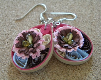 Small Paper Quilled Earrings with Pink and Maroon Flower with a Tan and Dark Pink Outline