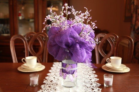 Fresh And Exciting Ideas For Entering Your Wedding: Items Similar To Custom Deco Mesh Centerpiece For Parties