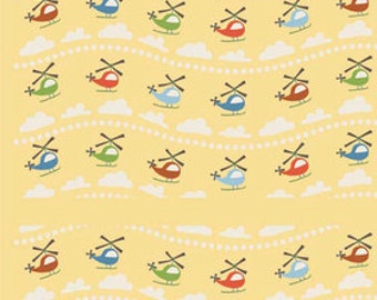 Riley Blake Scoot Yellow Helicopter Fabric (1 yd)