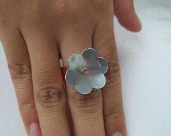 Aluminum Flower on Copper Band Ring