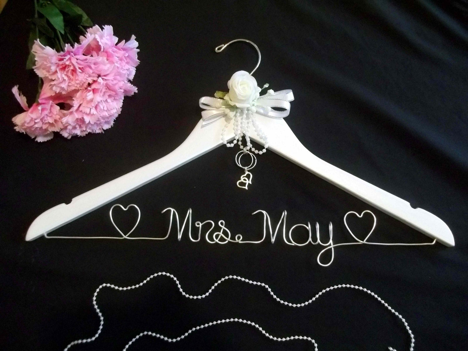 Personalized wedding dress hanger wedding day hanger for Custom wedding dress hanger