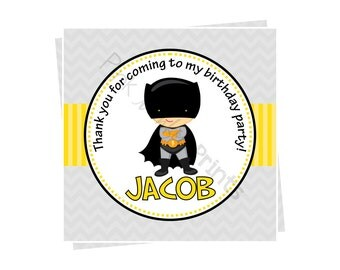 DIY - Bat Superhero Birthday Favor Tags- Coordinating Items Available