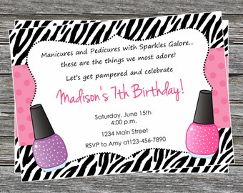 DIY - Zebra Print Spa Girl Birthday Party Invitation - Coordinating Items Available