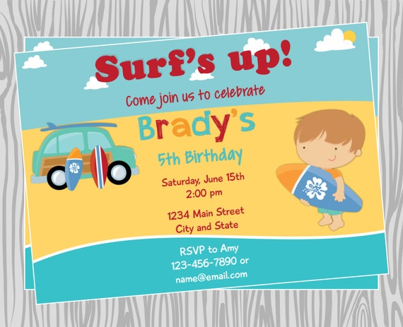 Surf Birthday Party Invitations Articleblog