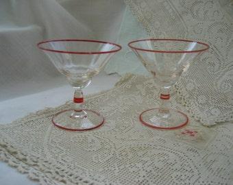 Art Deco Barware Vintage Set of  Two Rare Cordial Glasses