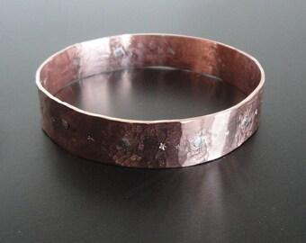 Artisan Copper and Sterling Rivet Hammered Bangle
