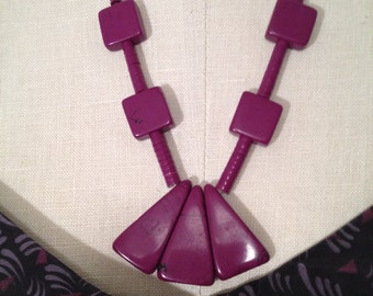 Vintage 80s purple stone necklace dead stock