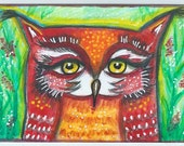 Whimsical ACEO, Owl in a Meadow