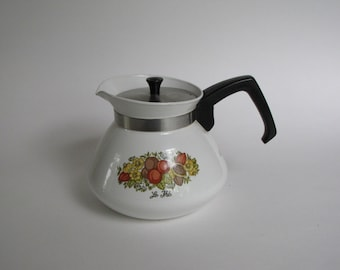 Vintage Corning Ware Coffee / Tea Pot - 6 cup pot with Le The Design