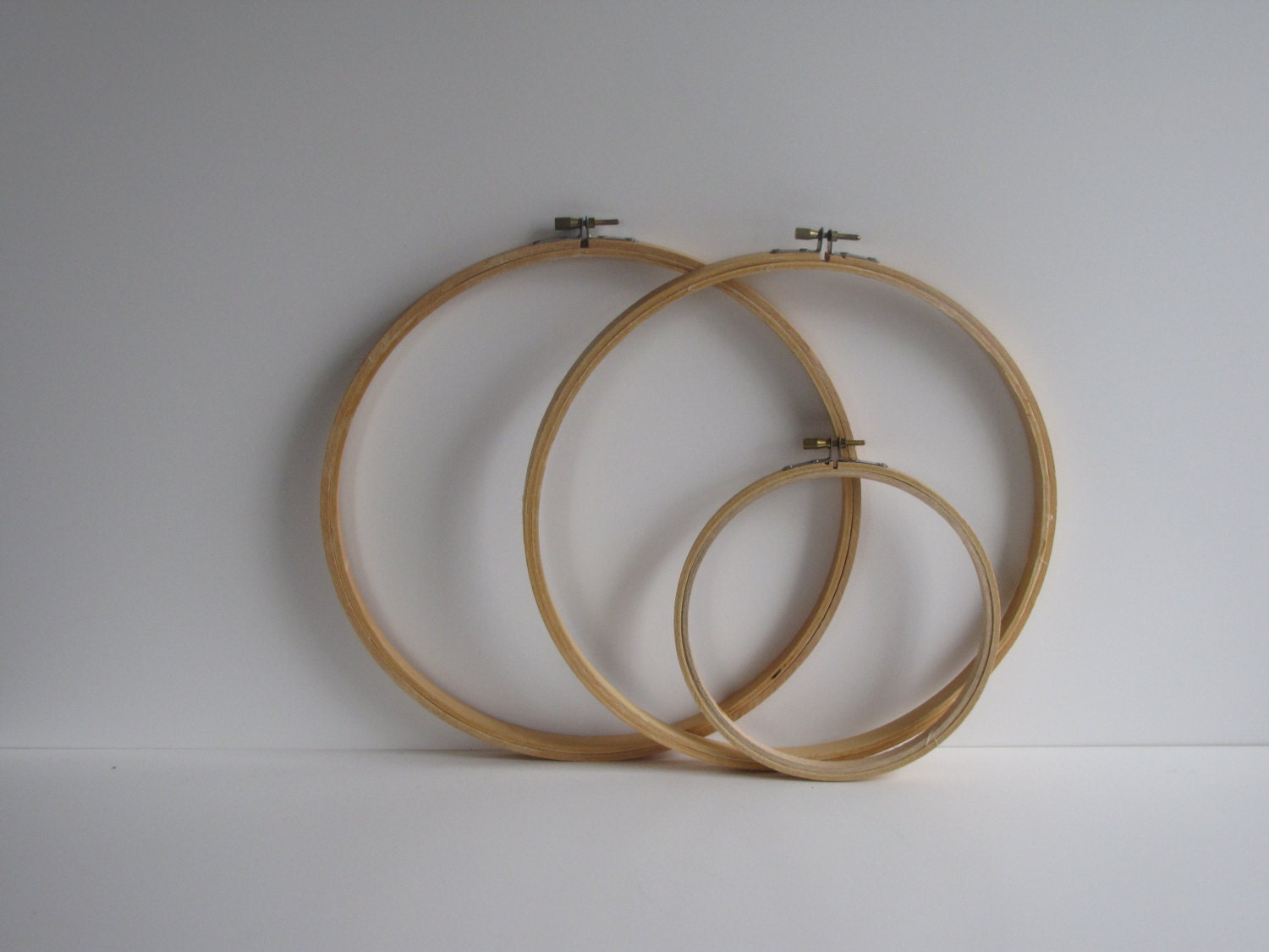 Vintage wood embroidery hoops set of three by