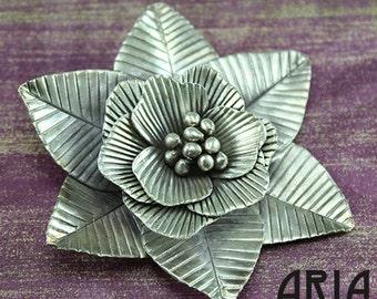 KAREN HILL TRIBE: 53mm Karen Hill Tribe Flower Pendant Thai Fine Silver (1)