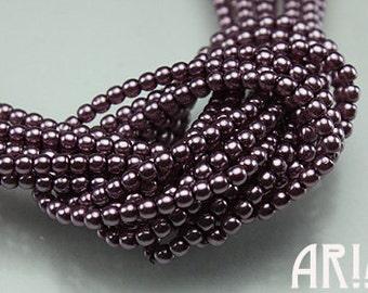 AMETHYST: 2mm Czech Glass Pearl Beads (150 beads per strand)