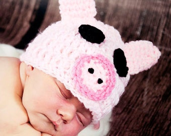 RUSH DELIVERY my Crochet Pink Pig PIGGY Hat Many Sizes preemie, newborn, 0-3 month,3-6 month, 6-12 month,, 1-3 yr also available in blue