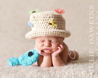 FLY FISHING Bucket Hat CROCHET Fisherman Hat with Fish Boy or Girl, SiZES Preemie Newborn 0-3month,3-6 month,6-12 month,1-3 yr,