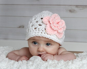 White hat with Pink Irish Rose Girls Beanie baby hat Many Sizes Preemie Newborn 0-3 month, 3-6 month, 6-12 month, 1-3 yr other colors avail