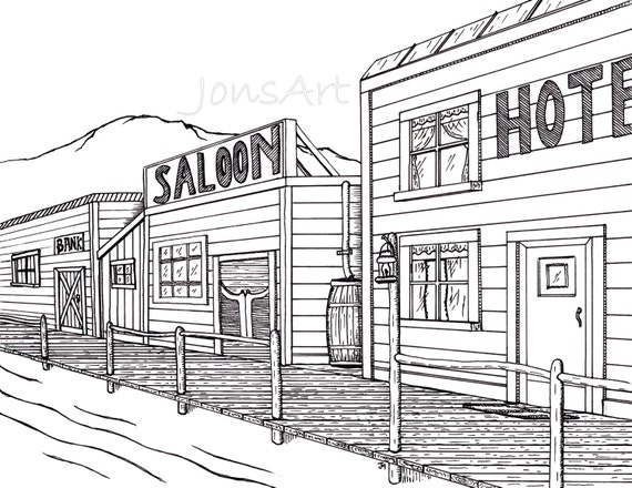Old West Town Drawing Il 570xn 445183713 boa4 jpgOld Western Town Drawing