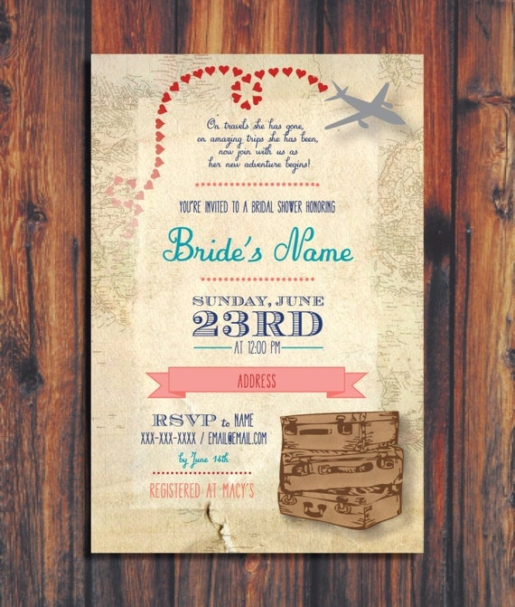 Travel Themed Bridal Shower Invitations can inspire you to create best invitation template