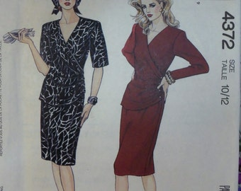 VINTAGE 1980s McCall's 4372 Drapey One Piece Dress Pattern sz  10-12 UNCUT